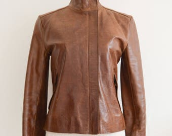 Vintage French Connection Ladies Leather Tan Brown Jacket, Size 10, 2 Front Pockets, Womens Jacket
