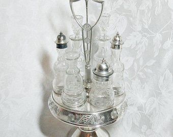 Antique Silver Plate Caster Cruet Set - Quadruple Plate