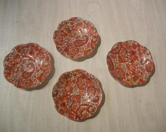 Vintage Rosina Bone China Tea Saucer England Orange Flowers And Gold Trimmed Set Of 4