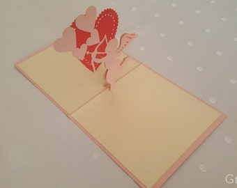 Cupids Valentines, Flower Handmade Kirigami 3D Pop UP Greeting Cards For Birthday Greeting gift Cards Thank You Cards Free Shipping …