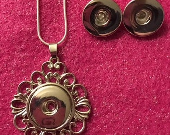 Nice Silver Tone Interchangeable Snap Necklace and Earring Set for 18mm Snaps - Includes a  .925 Sterling Silver Chain