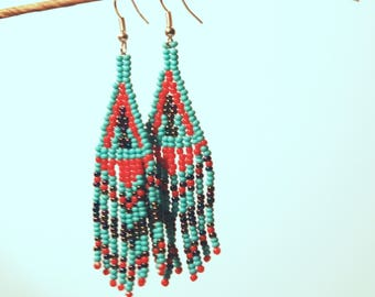Blue and Red Chevron Earrings