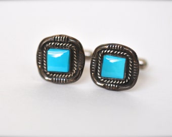 On Sale Now : Vintage Native American Silver & Turquoise Men's Cufflinks