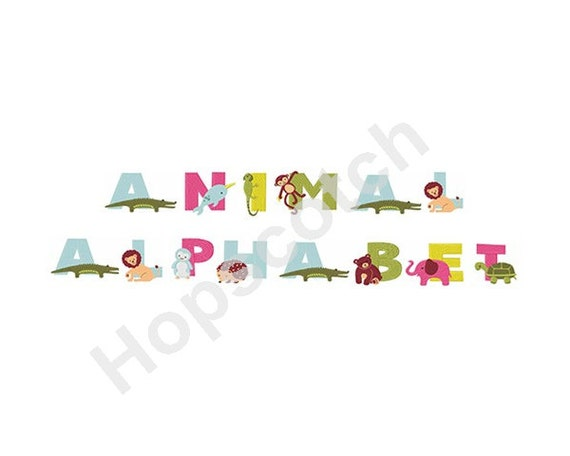 Animal alphabet machine embroidery font from