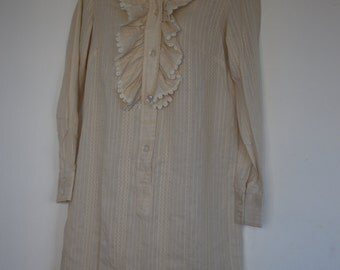 Vintage Ship n Shore beige  tunic blouson dress with nehru collar size 10
