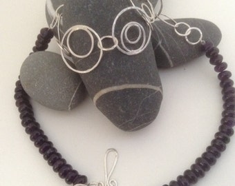Silver circles amethyst necklace