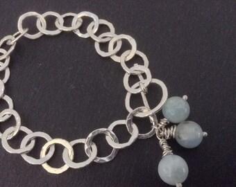 Fine silver links and aquamarine beads chain bracelet