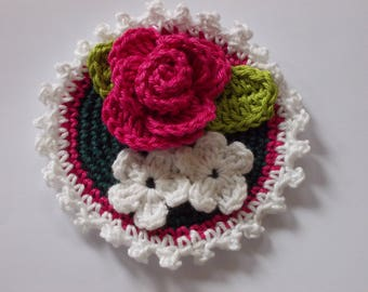 Button with crochet rose and mini flowers - 10 cm