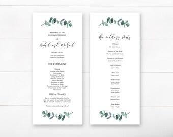 Wedding Program, Printable Wedding Program, Ceremony Program, Eucalyptus Ceremony Program, Greenery Ceremony Program, Wedding Ceremony