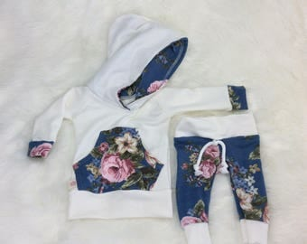 Baby girl hoodie and sweats, newborn baby girl outfit, girl  take home outfit, baby shower outfit, hoodie and sweats