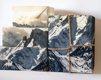 Warm Snowy Mountain Wrapping Paper; Christmas Gift Wrapping; Travel Wrapping Paper; Gift Wrapping; Wrapping Paper; Christmas Wrapping Paper