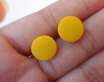 Yellow Flat Round Stud Earrings