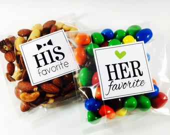 His Favorite, Her Favorite, Wedding Stickers, His and Her Favorite, Treat Bag Sticker, Sweet and Salty, Favorite Stickers, Favor Sticker, 12