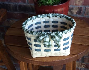 Green Plaid Country Basket