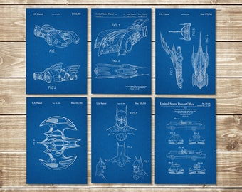 Batman Blueprint, Patent Print Group, Batman Art Posters, Batman Posters, Patent Print Set,Batman Printable,Batwing Poster, INSTANT DOWNLOAD