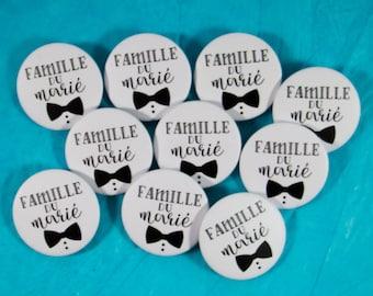 10 Badges mariage Famille du marié