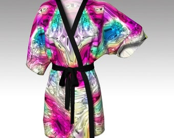 Kimono Robe, Draped Kimono, Dressing Gown, Colorful Robe, Beach Coverup, Bridesmaids Robes, Lounge Wear, Swimsuit Coverup, Womens Robe, Gift