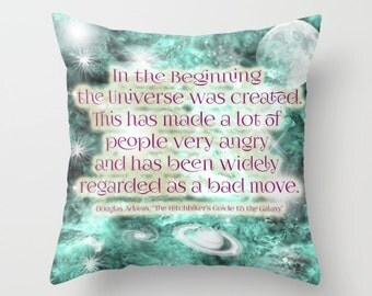 Douglas Adams Quote, HHGTTG Pillow Case, Pillow Cover, Hitchhiker's Quote, Funny Pillowcase, Space Pillow, Galaxy Pillow, Funny Quote Pillow