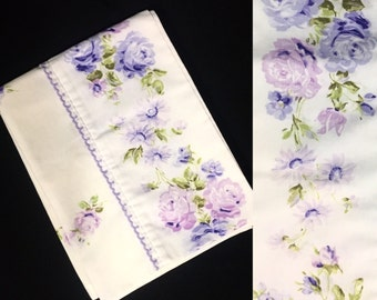 Single Pillowcase | Standard Size | JCPenney | Purple Floral Border Print