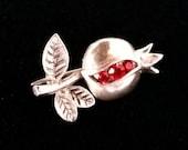 Pomegranate Brooch Granada, Silver Brooch with Red Zircon, Sterling Silver, Small Brooch, Abundance Symbol, Unique Bridesmaid Gift Idea