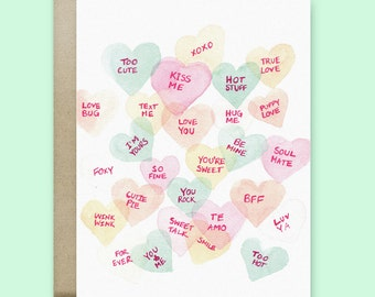 Candy Love Hearts Greeting Card | Valentine's Day Card | Birthday Card | Watercolor Card | Just Because Card | Love