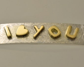 "Bracelet silver and gold ""I LOVE YOU"""