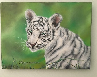 White tiger canvas painting