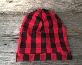 Tuque slouchy beanie aerified red and black lumberjack