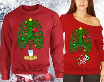 Christmas Pregnancy Announcement Matching Sweaters Couples, Slouchy Sweater, Crewneck, ugly christmas sweater couple, not Hoodie CCB-441-440