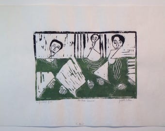 Signed numbered original woodblock print The Three Samurai by Judith S Rein
