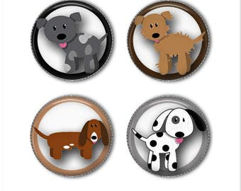 Cute puppy magnets or cute puppy pins, dog magnets or dog pins, puppies, refrigerator magnets, fridge magnets, office magnets