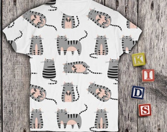 Funny Cats Shirt for Kids Childs Animal Shirt Baby Boys Cute Shirt Girls Lovely Shirt Animal Shirt for Childs Girls Cute PA1114