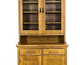 B623 Antique Tiger Oak Eastlake Hutch, Buffet, Glass Fronted Cabinet