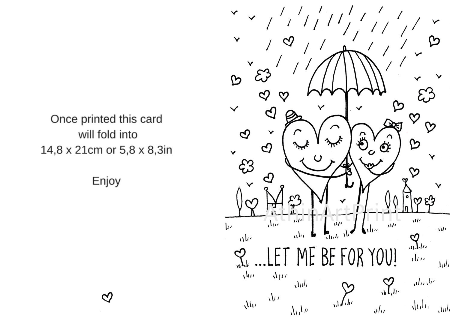 printable valentine card love greeting cards coloring cards love card romantic card