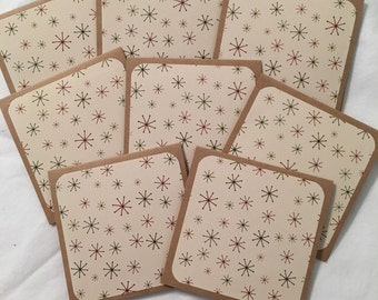 "8 Mini Note Cards & Envelopes 3"" x 3"" Christmas Thank You Gift Notes N029"