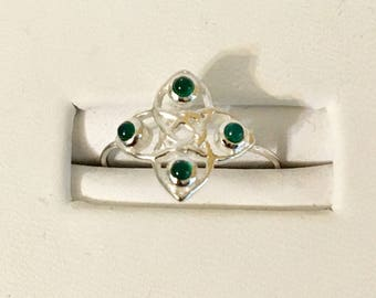 USA FREE SHIPPING!! Sterling Silver Green Onyx Ring