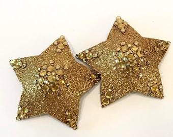 Gold Star Rhinestone Burlesque Pasties