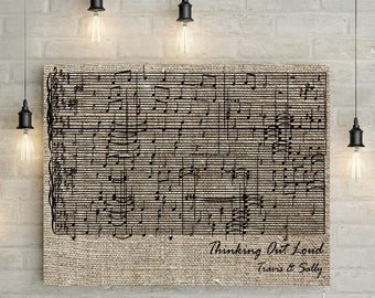 Custom Music Sheet, First Dance/ Wedding Song Music Notes on Canvas or Printable - LINEN EFFECT, Linen Anniversary Gift