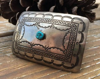 Turquoise And Sterling Silver Belt Buckle | Blue Turquoise Jewelry | Unisex Buckles | Old Pawn | Dead Pawn | Native Jewelry