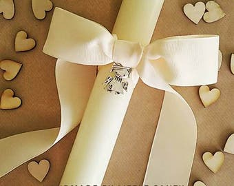 Baptism candle - Christening candle - Holy Communion candle. Different ribbons to choose. Vela baptizado.
