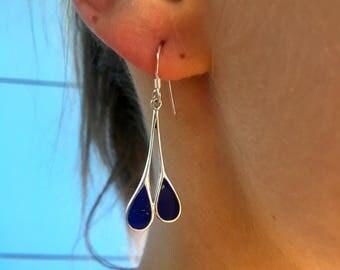 Lapis silver earrings | Lapis Lazuli earrings | Lapis sterling 925 earrings | Lapis drop earrings | Gemstone drop earrings