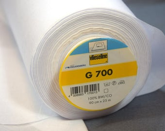 G700 in white, one side aufbügelbar, dimensionally stable, washable made of pure cotton, 90 cm wide