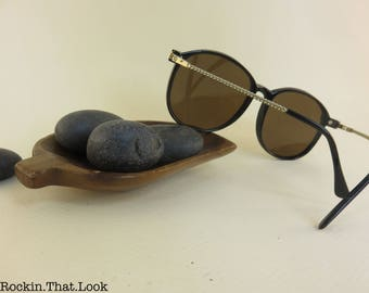 Vintage Round Sunglasses Gold Twisted Legs Reflective Lenses