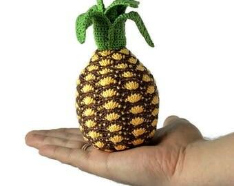 1 Pcs - Crochet pineapple/teether teeth/Amigurumi kitchen play set/play food/kitchen decoration/crochet fruit/educationtoys