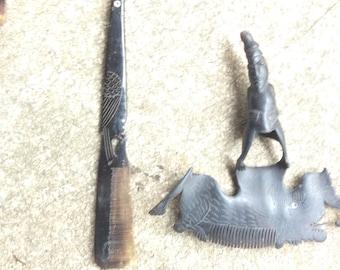 water buffalo horn comb carvings handmade