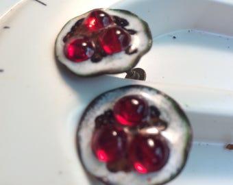 copper enamel clip-on earring by sheldon