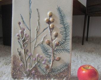 Vintage 70s relief ceramic wall Ceramic ceramic picture 2
