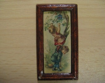 For the dollhouse: old painting, children, girl climbs tree ... 50
