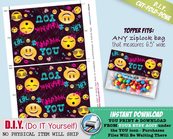 Emoji Candy Bag Toppers Printable