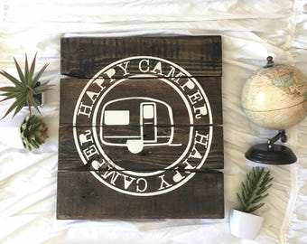 Happy Camper Sign // Boho Chic Sign // Rustic Decor Sign // Boho Camper Sign